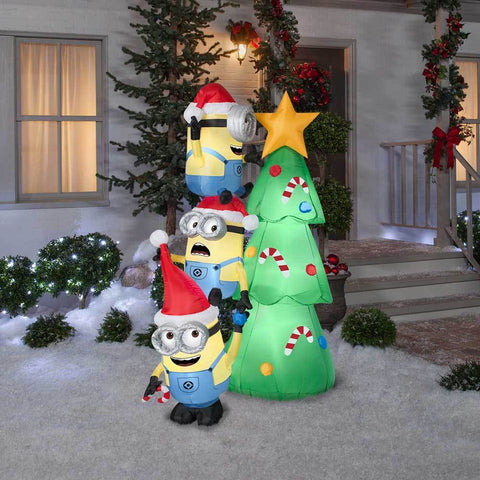 6 airblown inflatable minions decorating tree by gemmy - Christmas Indoor Decorations Sale