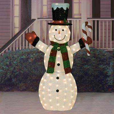 "Christmas - 60"" Iridescent Fabric Lighted Snowman Sculpture"