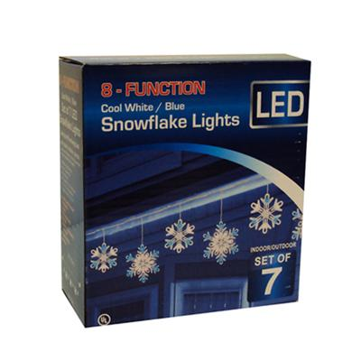 Christmas - 7 Piece LED 8 Function Blue/Cool White Snowflake Christmas Lights