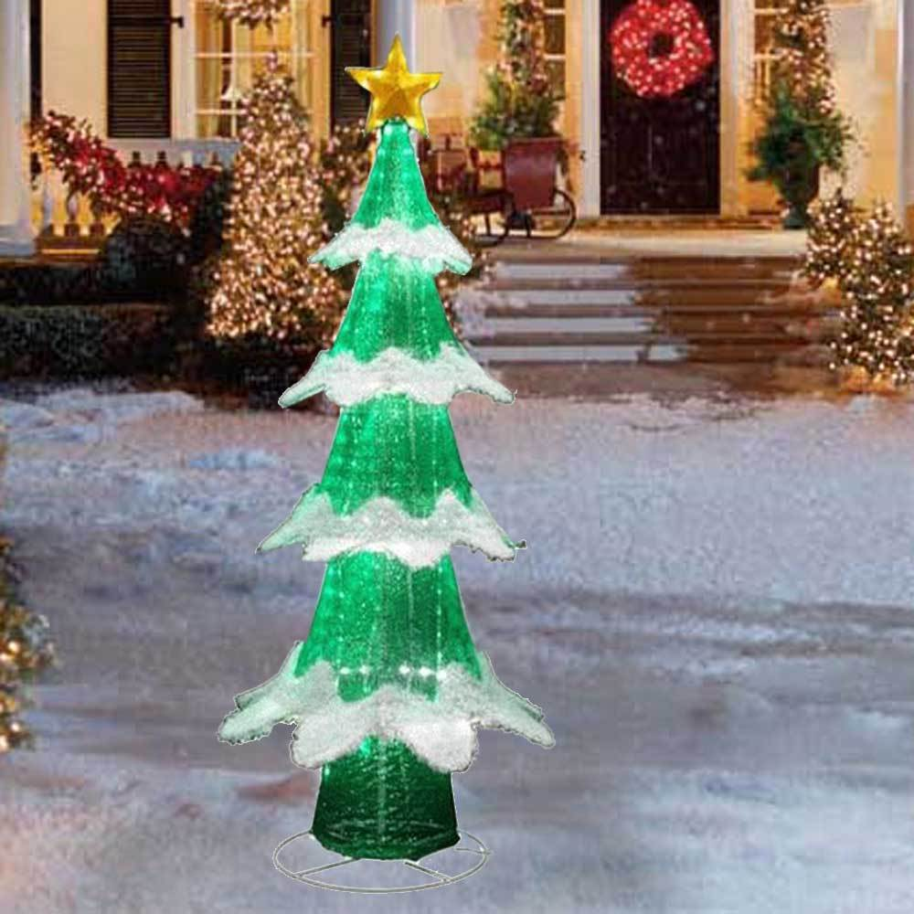72 led lighted green white christmas tree sculpture