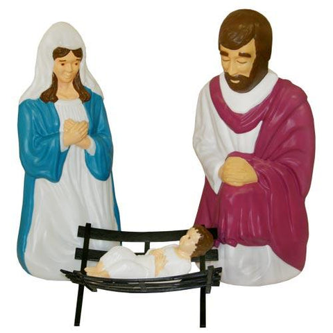 Christmas - Christmas Outdoor Lighted Blow Mold Life Size Nativity Figures