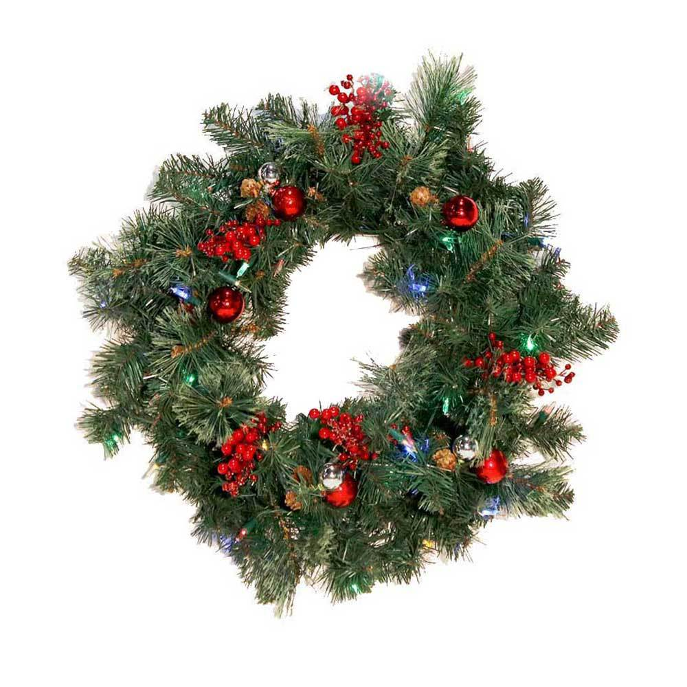 cordless 26 castle hill led pre lit artificial christmas wreath