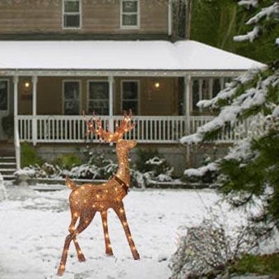 Christmas - Glittering Champagne Head Turning Buck Lighted Sculptures