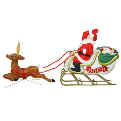 christmas santa with sleigh reindeer blow mold christmas decoration
