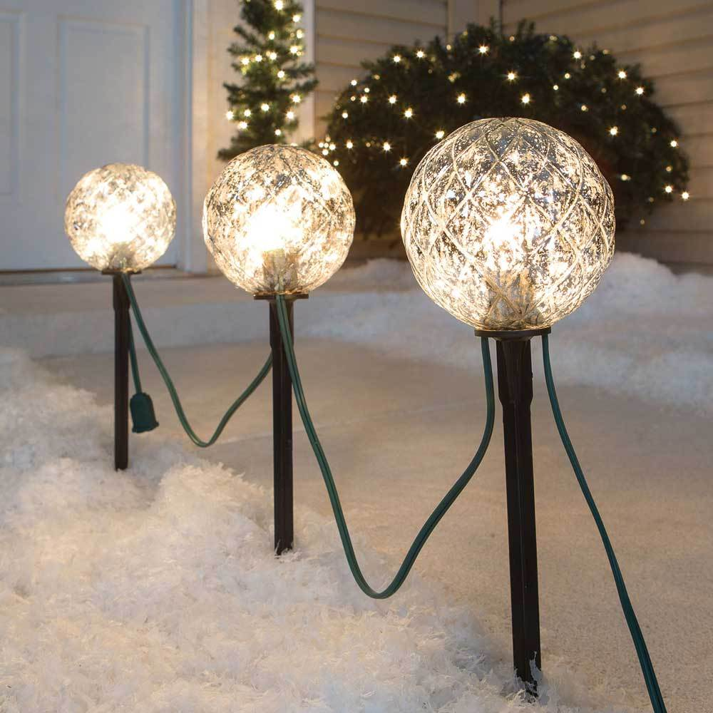 sylvania 3 piece 115 lighted faux mercury glass christmas ball pathway markers