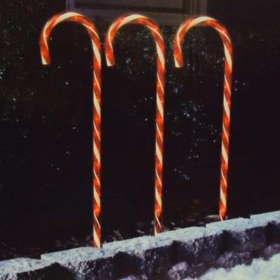 Christmas - Sylvania 3 Piece Lighted Candy Cane Lawn Stakes