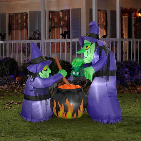 Holidays - 6' Airblown® Inflatable Double Bubble Witches With Cauldron By Gemmy