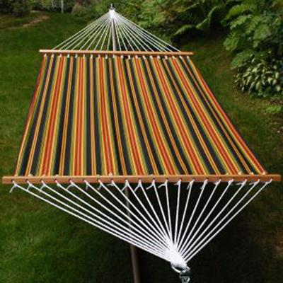 Outdoor Living - 2-Point Extra Large Lyndhurst Raven Stripe Fabric Hammock
