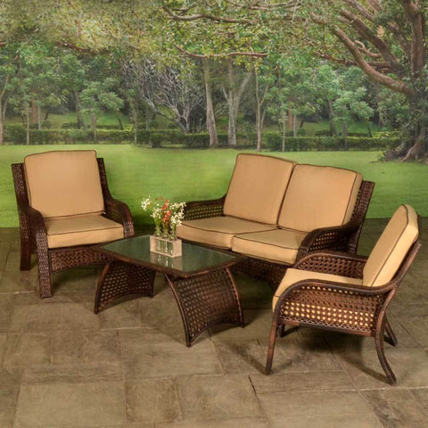 Outdoor Living - Carlisle 4 Piece Wicker Patio Group
