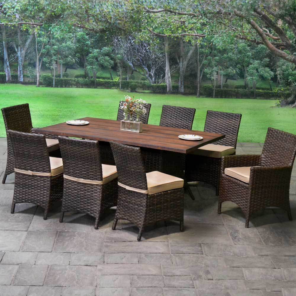 Lenox Wicker Cushioned Patio Dining Set