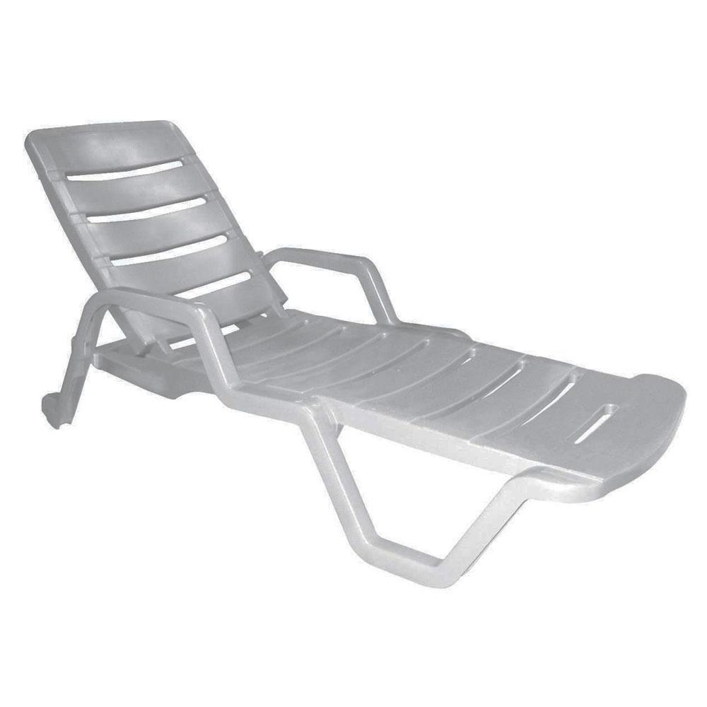 Resin White Stackable Patio Chaise Lounge Chair