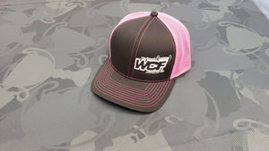 BLACK/PINK Pacific Headwear Trucker Hat with WHITE WCF Logo
