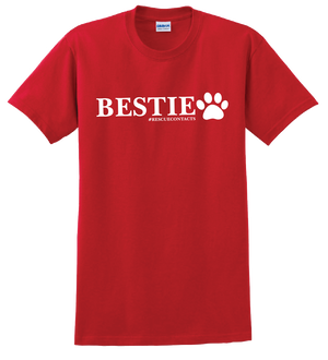 Men's red T-shirt that says bestie with a dog paw and #rescue contacts