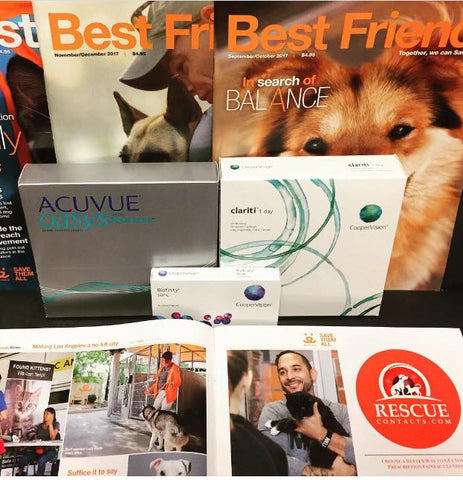 Best Friends Animal society magazines with Rescue Contacts ad and boxes of contact lenses. Clarity 1 Day, Acuvue Oasys 1 Day and Biofinity monthly lens.
