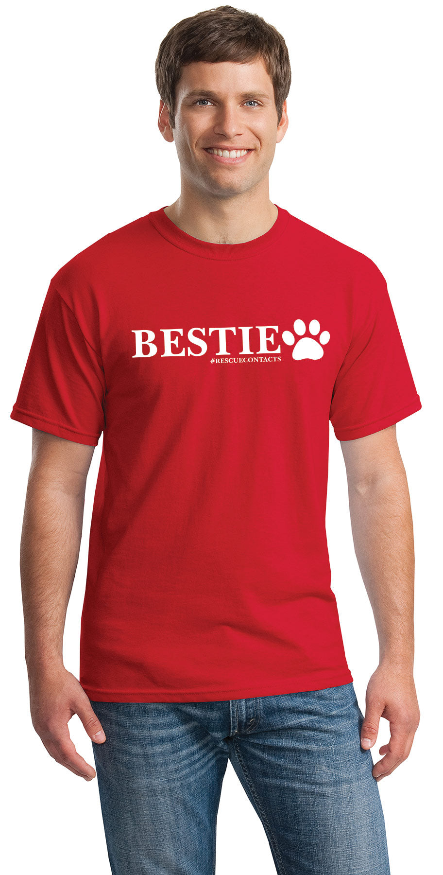 Black tee shirt for men that says bestie in white print with dog paw and # rescue contacts