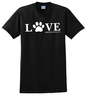 Black tee shirt for men that says love in white print with dog paw and # rescue contacts