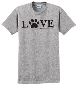 Grey tee shirt for men that says love in black print with dog paw and # rescue contacts