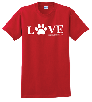 Red tee shirt for men that says love in white print with dog paw and # rescue contacts