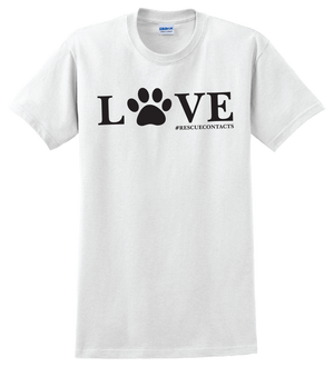 White tee shirt for men that says love in black print with dog paw and # rescue contacts