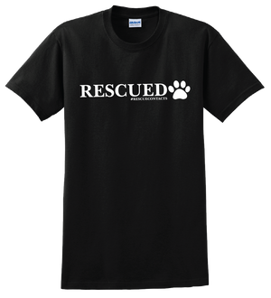 Black tee shirt for men that says rescued in white print with dog paw and # rescue contacts