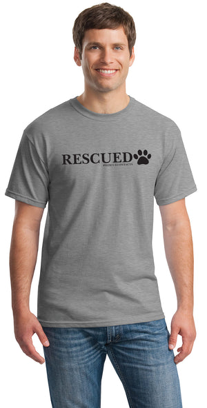 Grey tee shirt for men that says rescued in black print with dog paw and # rescue contacts