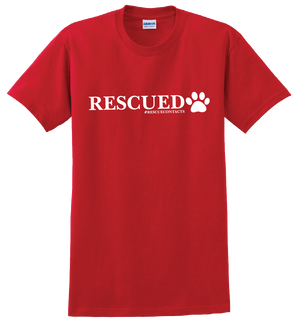 Red tee shirt for men that says rescued in white print with dog paw and # rescue contacts