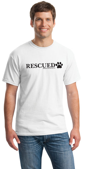 White tee shirt for men that says rescued in black print with dog paw and # rescue contacts