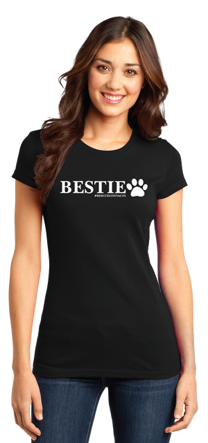 Black tee shirt for women that says bestie in white print with dog paw and # rescue contacts