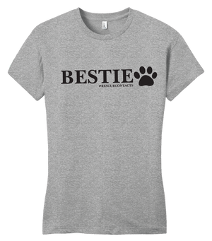 Grey tee shirt for women that says bestie in black print with dog paw and # rescue contacts