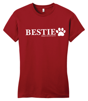 Red tee shirt for women that says bestie in white print with dog paw and # rescue contacts