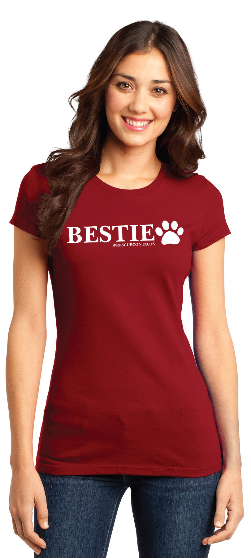 White women's tee shirt that says bestie in black print with dog paw and # rescue contacts