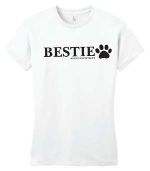 White tee shirt for women that says bestie in black print with dog paw and # rescue contacts