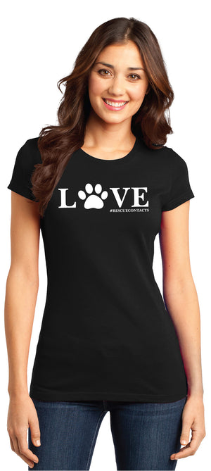Black tee shirt for women that says love in white print with dog paw and # rescue contacts