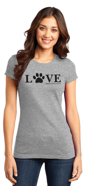 Grey tee shirt for women that says love in black print with dog paw and # rescue contacts