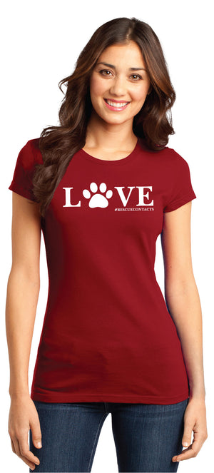 Red tee shirt for women that says love in white print with dog paw and # rescue contacts