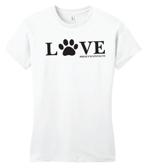 White tee shirt for women that says love in black print with dog paw and # rescue contacts