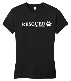 Black tee shirt for women that says rescued in white print with dog paw and # rescue contacts