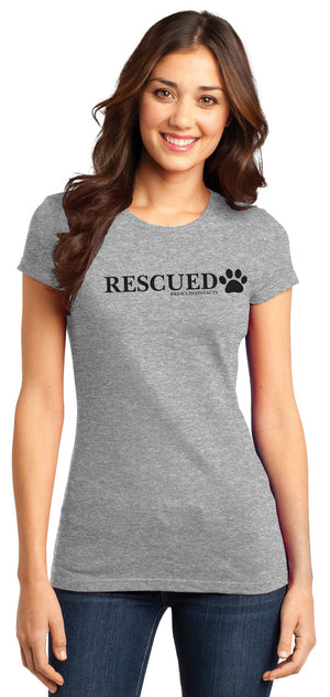 Grey tee shirt for women that says rescued in black print with dog paw and # rescue contacts