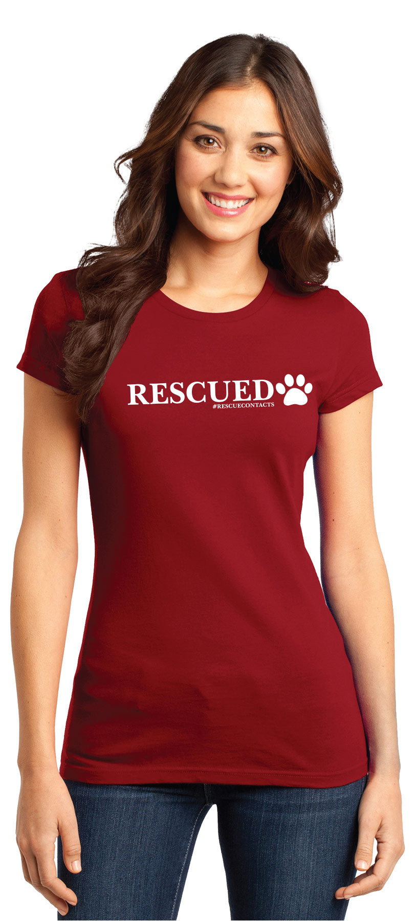Red tee shirt for women that says rescued in white print with dog paw and # rescue contacts