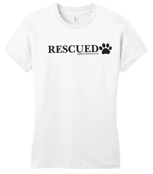 White tee shirt for women that says rescued in black print with dog paw and # rescue contacts