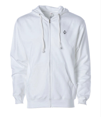 Ace Zip Up Hoodie - White
