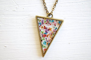 Real Pressed Flower and Resin Necklace in Party Mix (Reds, Oranges, Yellows, Greens, Blues, Purples, and Pinks Mix)