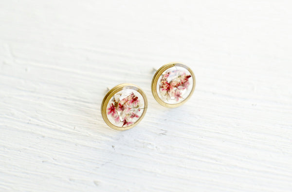 Real Pressed Flower and Resin Stud Earrings in Pinks and White Mix