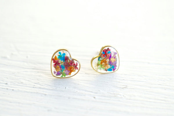 Real Pressed Flower and Resin Stud Earrings in Party Mix