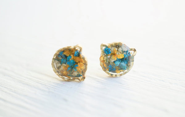Real Pressed Flower and Resin Stud Earrings in Blues and Yellows Mix Cat/Bear
