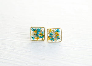 Real Pressed Flower and Resin Stud Earrings in Blues, Yellows, and White mix