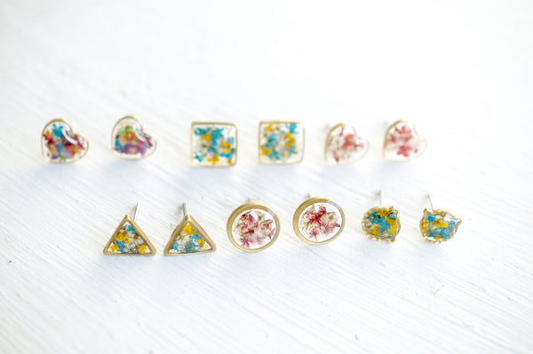 Real Dried Flowers and Resin Triangle Stud Earrings in Yellow and White