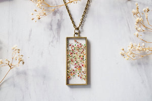 Real Pressed Flower and Resin Necklace in White Pink Orange Green Mix