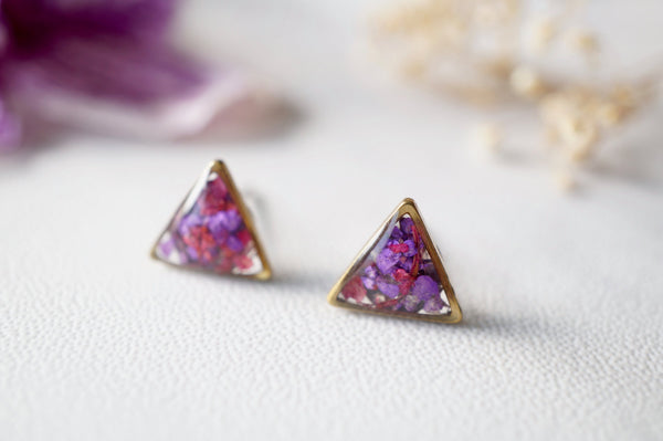 Real Dried Flowers and Resin Stud Earrings in Purple and Magenta Mix