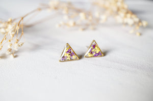Real Dried Flowers and Resin Stud Earrings in Purple and Yellow Mix